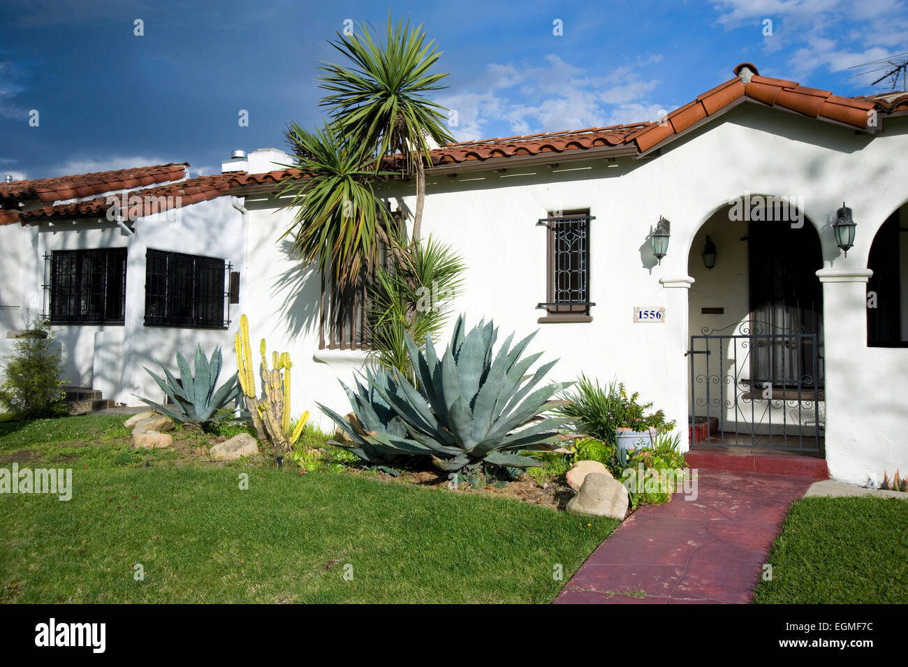 Typical spanish style home in los angeles ca stock photo for Spanish style modular homes