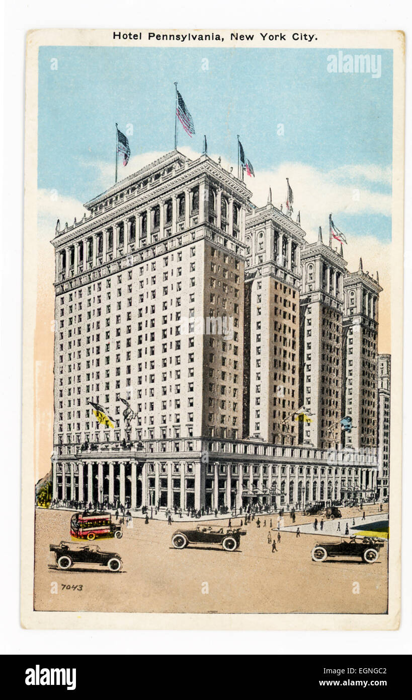 this 1930s postcard shows hotel pennsylvania in new york city the stock photo royalty free. Black Bedroom Furniture Sets. Home Design Ideas