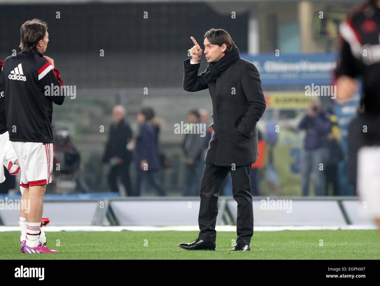 Verona Italy 28th February 2015 Filippo Inzaghi AC Milan s