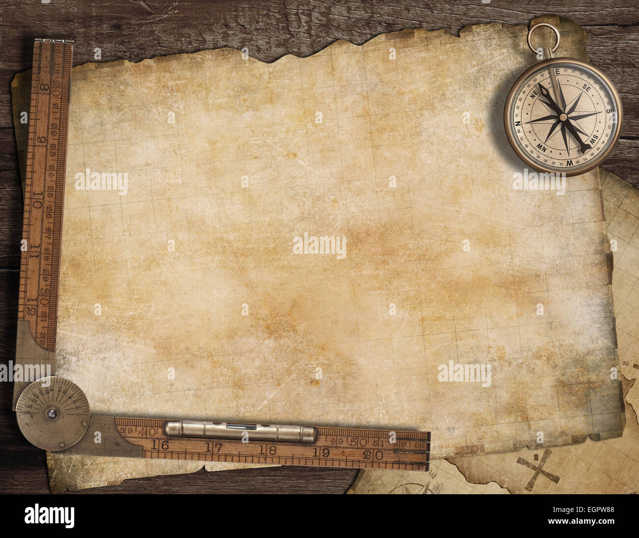 Blank treasure map background with, old compass and ruler ...