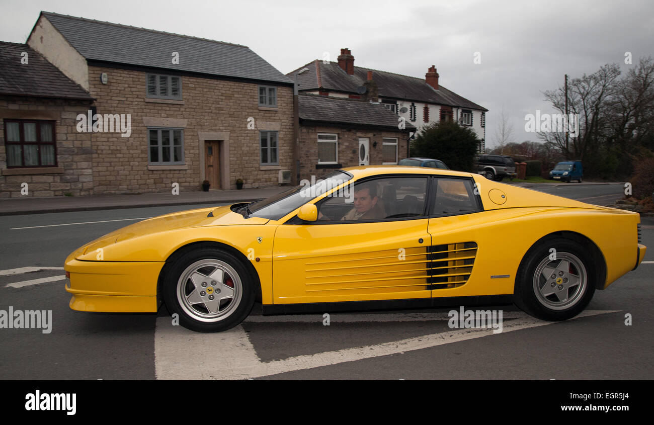 1st march 2014 ferrari testarossa type f110 at the inaugural car club meet in wrightington credit mar photographicsalamy live news - Ferrari 2014 Yellow