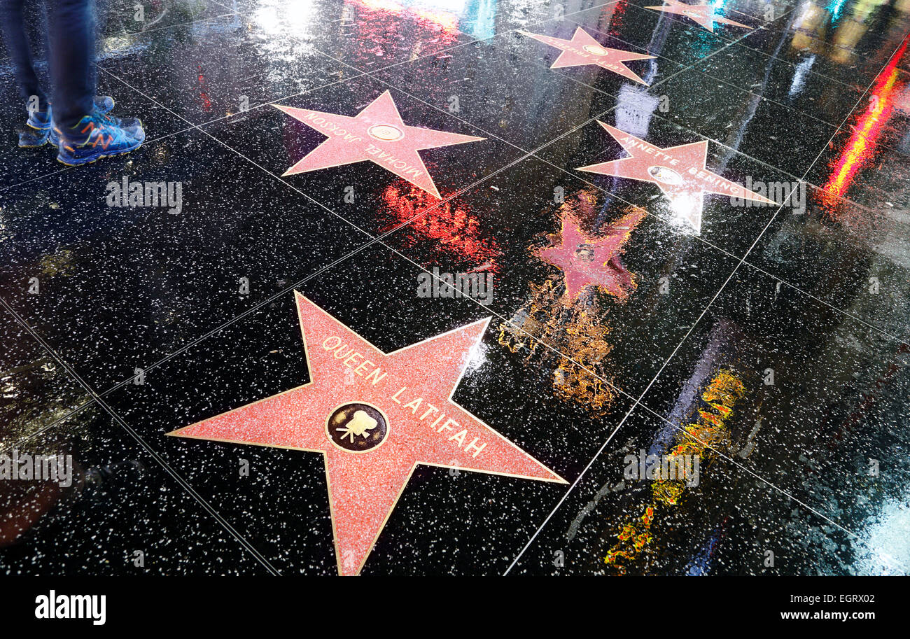 hollywood boulevard los angeles hollywood walk of fame with neon stock photo royalty free. Black Bedroom Furniture Sets. Home Design Ideas