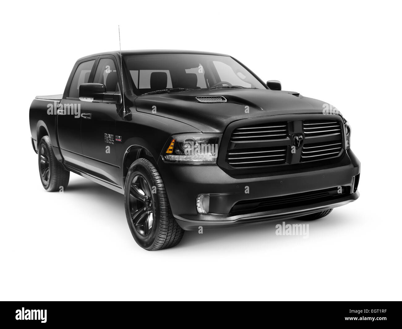 black 2015 dodge ram 1500 sport crew cab 4x4 pickup truck isolated on stock photo royalty free. Black Bedroom Furniture Sets. Home Design Ideas