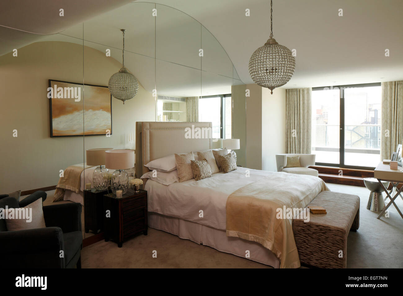 Mirrored ceiling bedroom