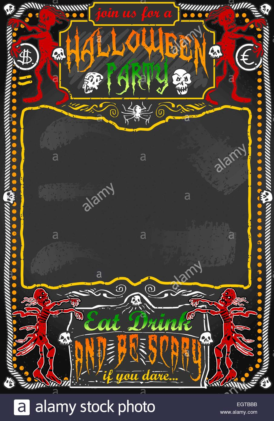 Detailed illustration of a Vintage Blackboard for Halloween Party ...