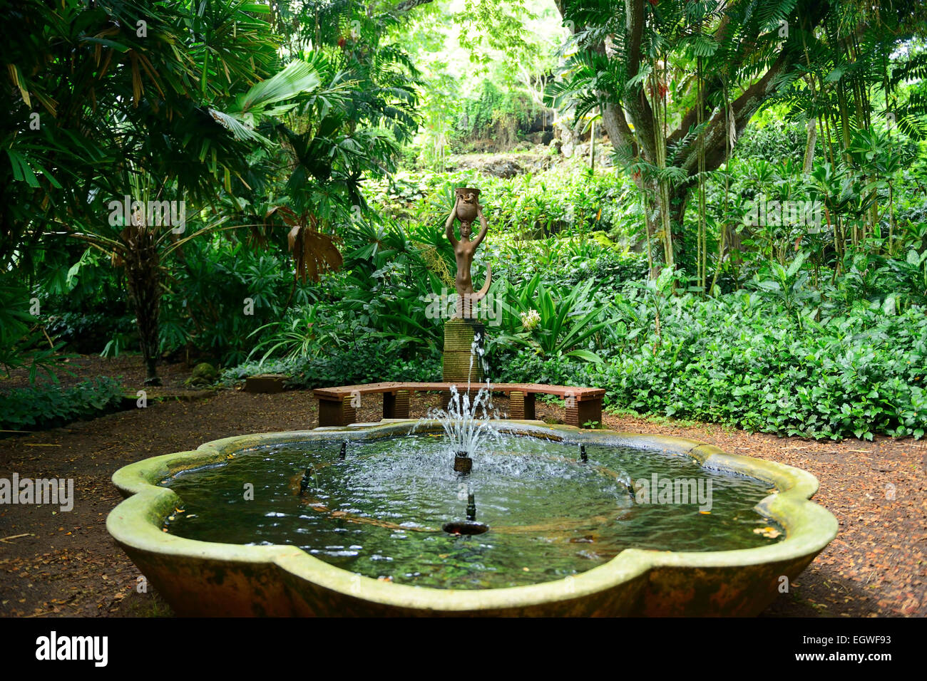 Fountain in allerton national tropical botanical garden - National tropical botanical garden kauai ...