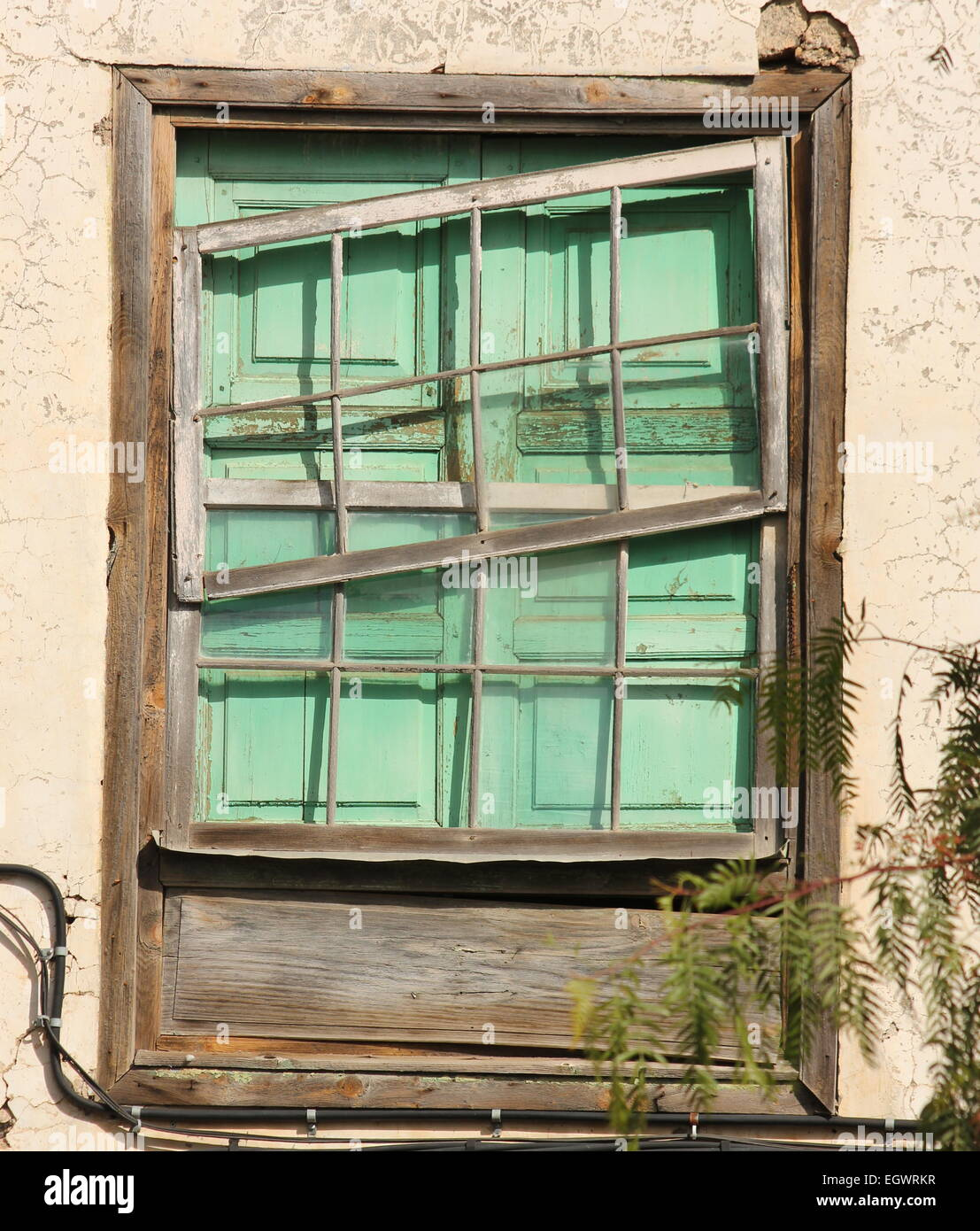 mint green shutters broken sash window frame old window vilaflor tenerife