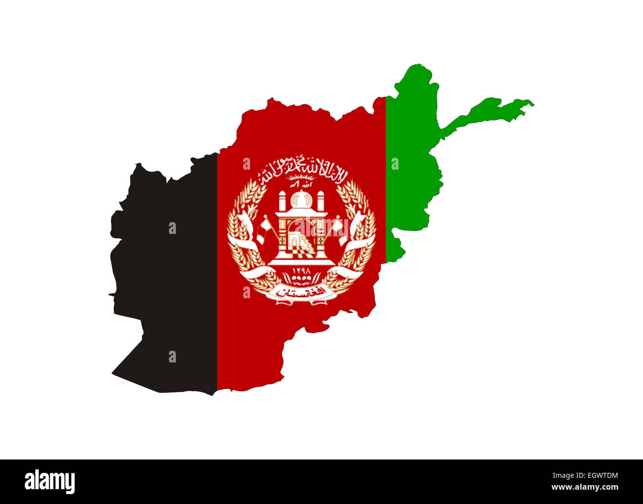 Afghanistan Flag In Shape Of Country