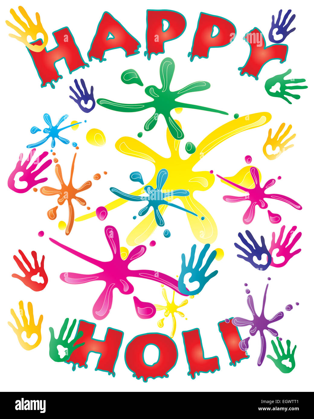 an illustration of a colorful Holi festival greeting card with ...