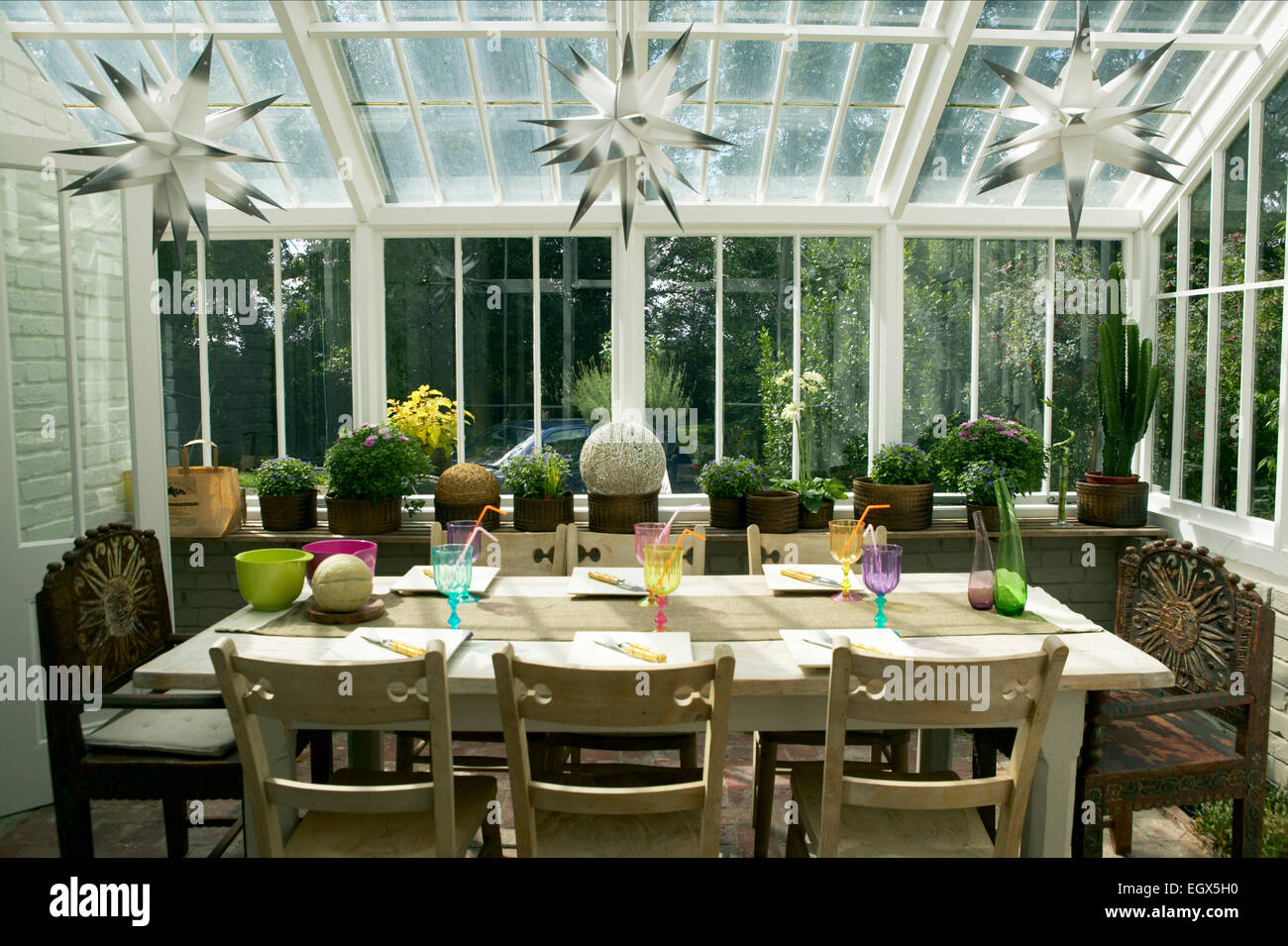 Dining table in conservatory Stock Photo, Royalty Free Image ...