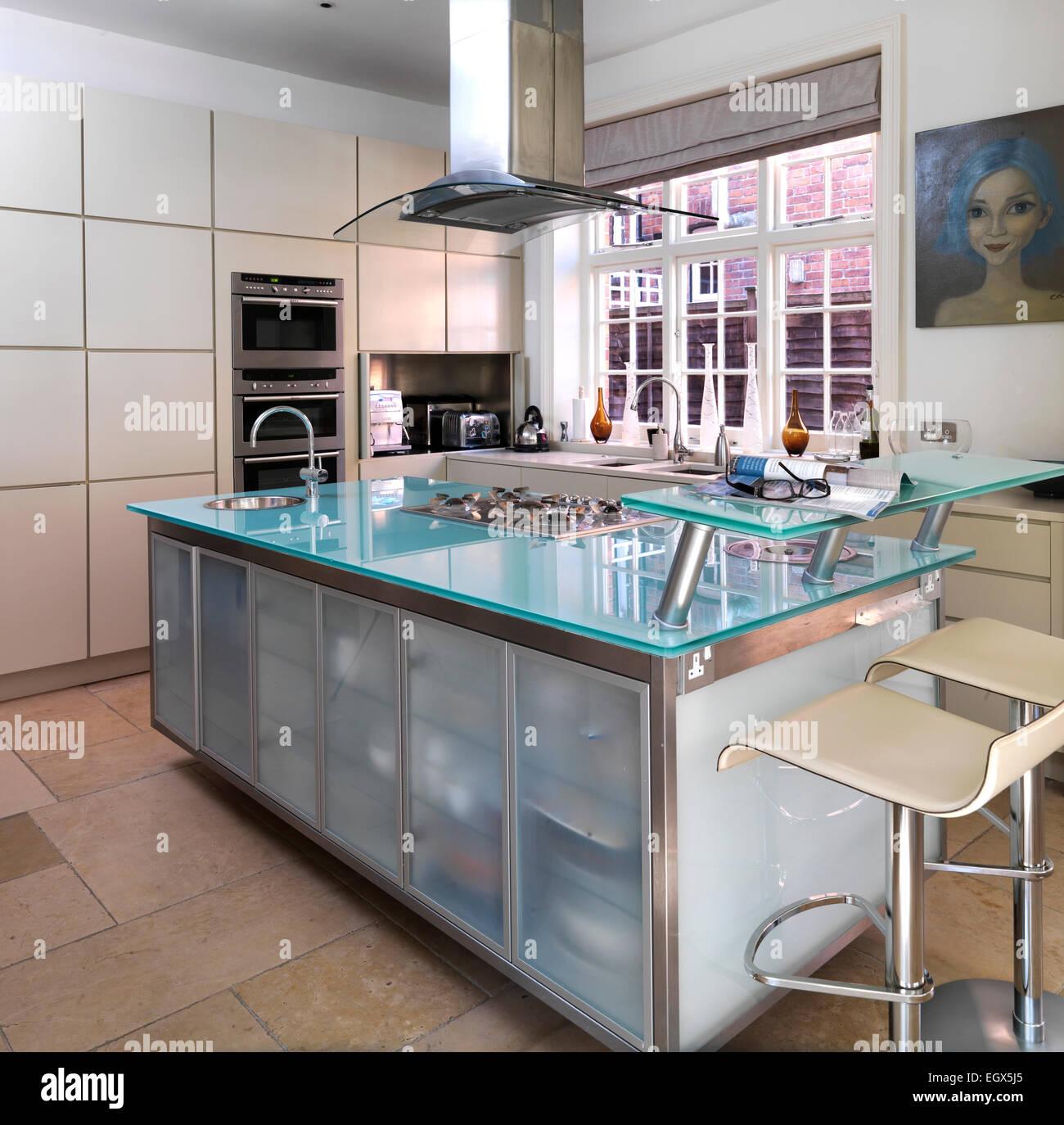 Bar Stools At Breakfast Bar In Modern Kitchen Uk Home