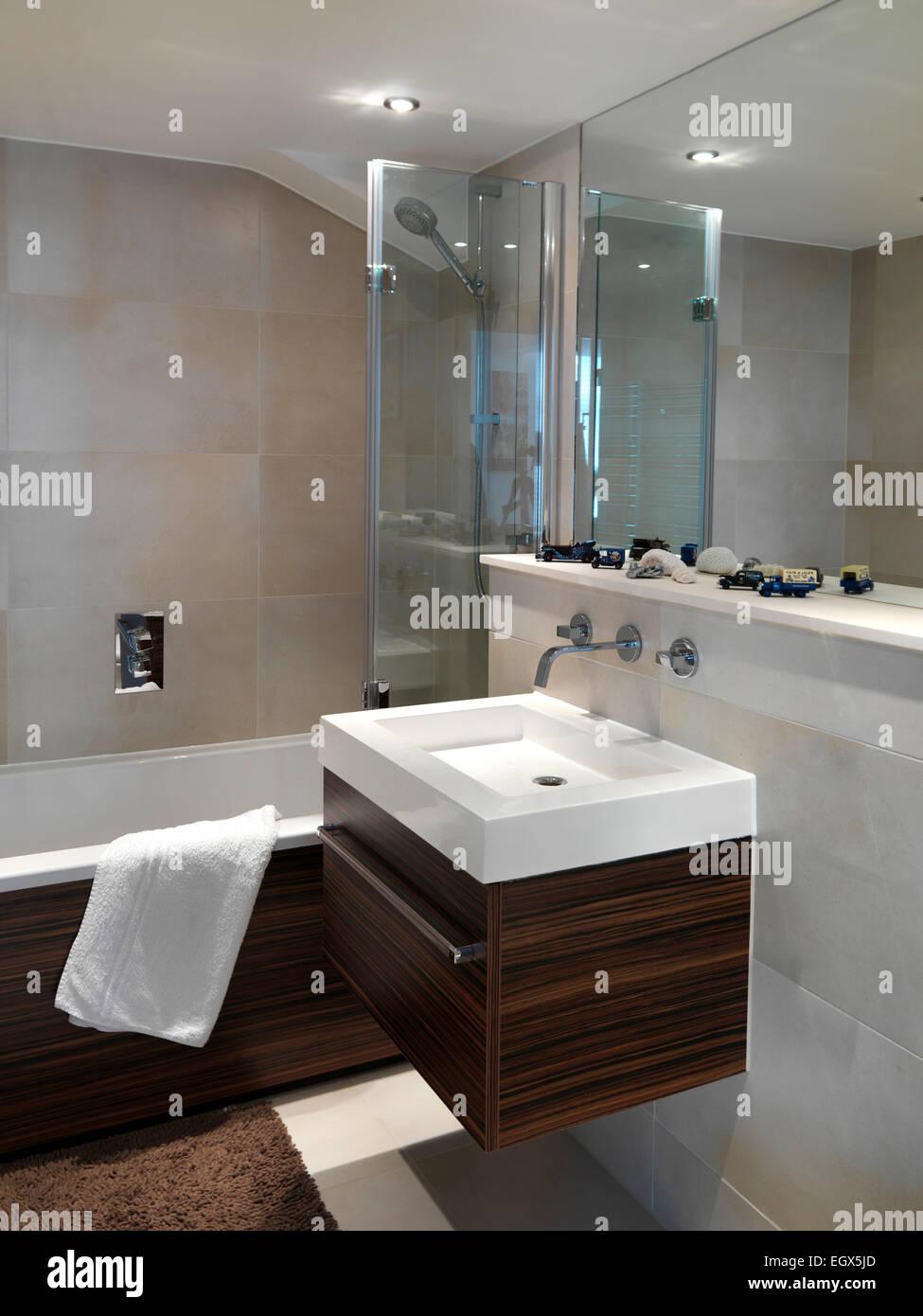 Bathroom Uk Mirror Above Wall Mounted Washbasin In Bathroom Uk Home Stock