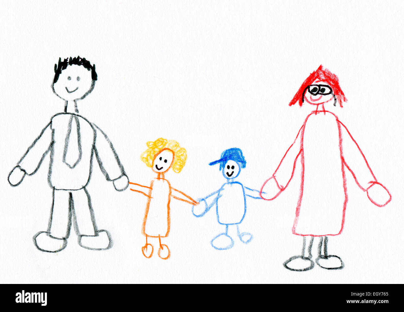 Uncategorized Childrens Drawing childrens drawing of happy family taking a walk stock photo walk