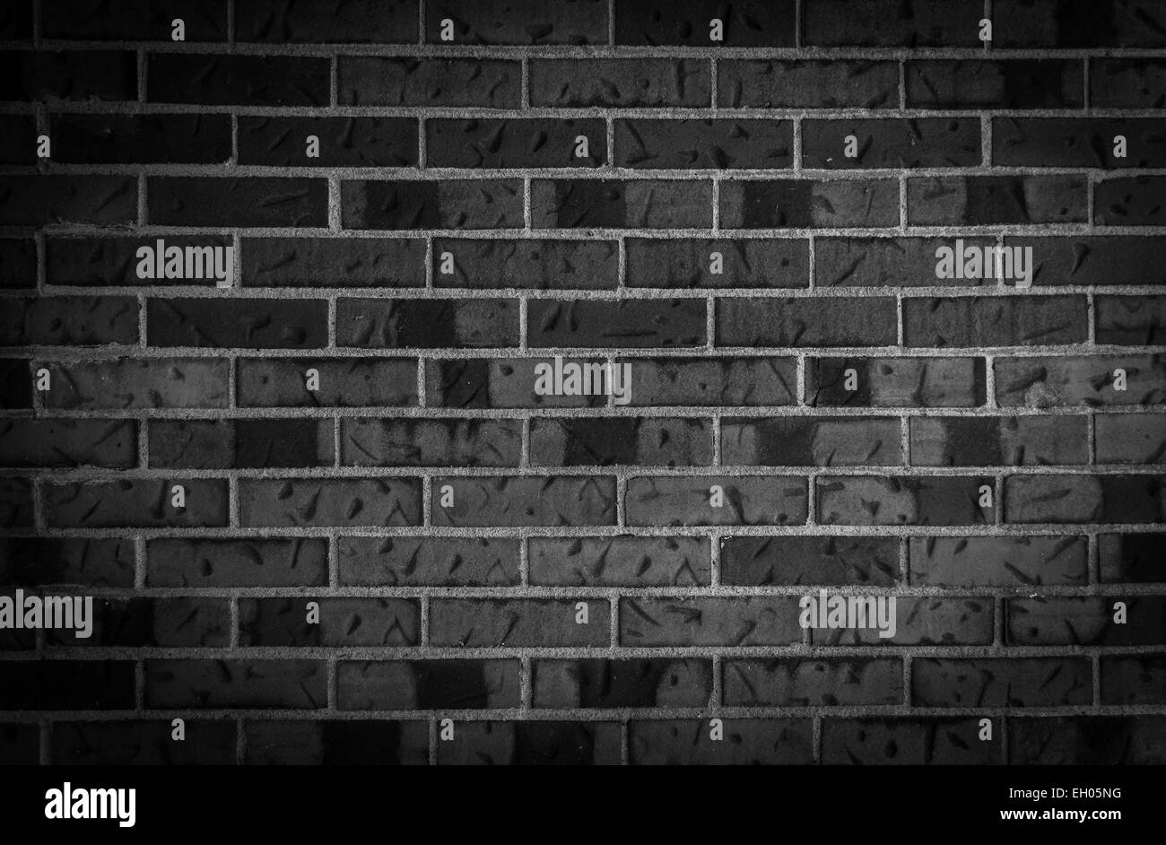 Old Dark Brick Wall Background Black And White Stock Photo