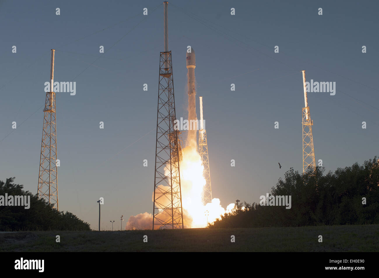 stock photo the spacex falcon 9 rocket carrying noaa s deep space climate observatory spacecraft or dscovr lifts off from space launch complex 40 at
