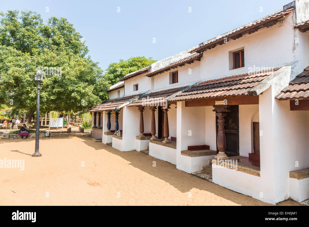 Typical Chettinar Style House With Verandah At
