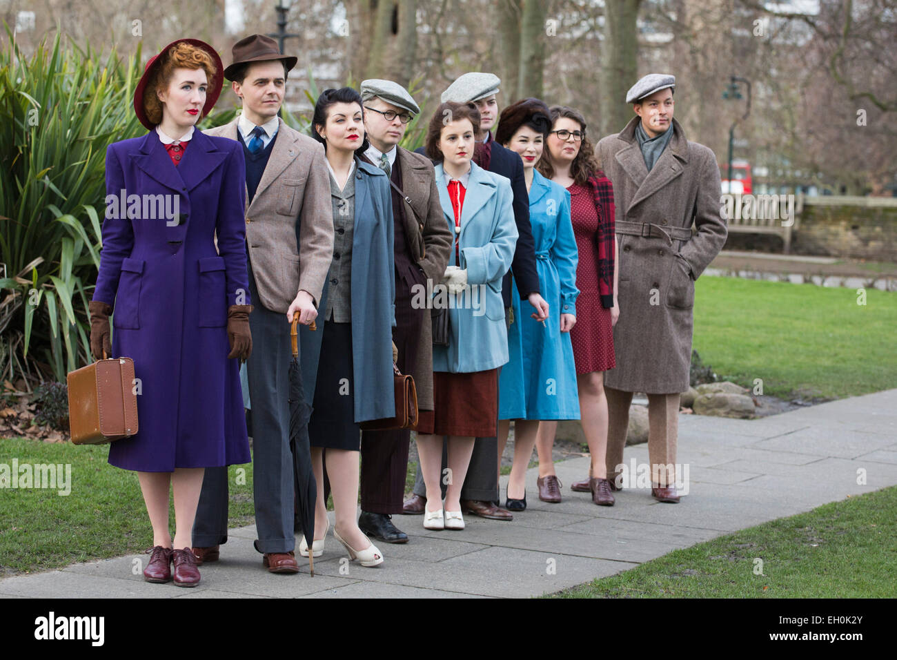 London, UK. 3 March 2015. Photocall with models dressed in ...