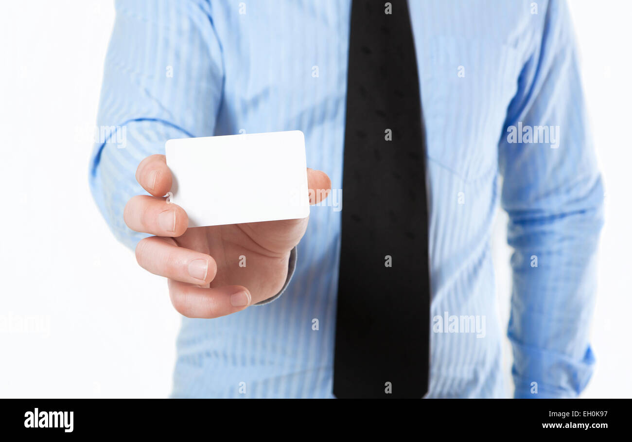 Man in shirt and tie holds a white business card in hand no face man in shirt and tie holds a white business card in hand no face magicingreecefo Choice Image