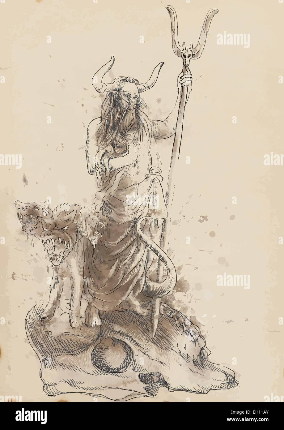 an hand drawn vector illustrations in ancient greek myths hades