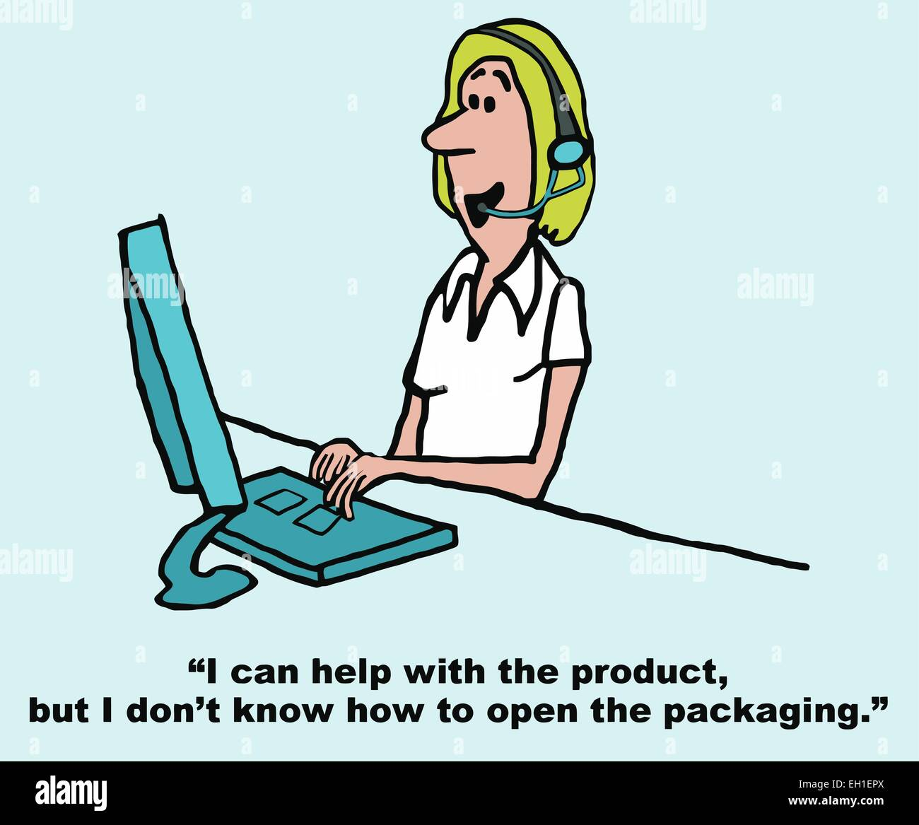 cartoon of customer service rep on phone customer i can help cartoon of customer service rep on phone customer i can help the product but i do not know how to open the packaging