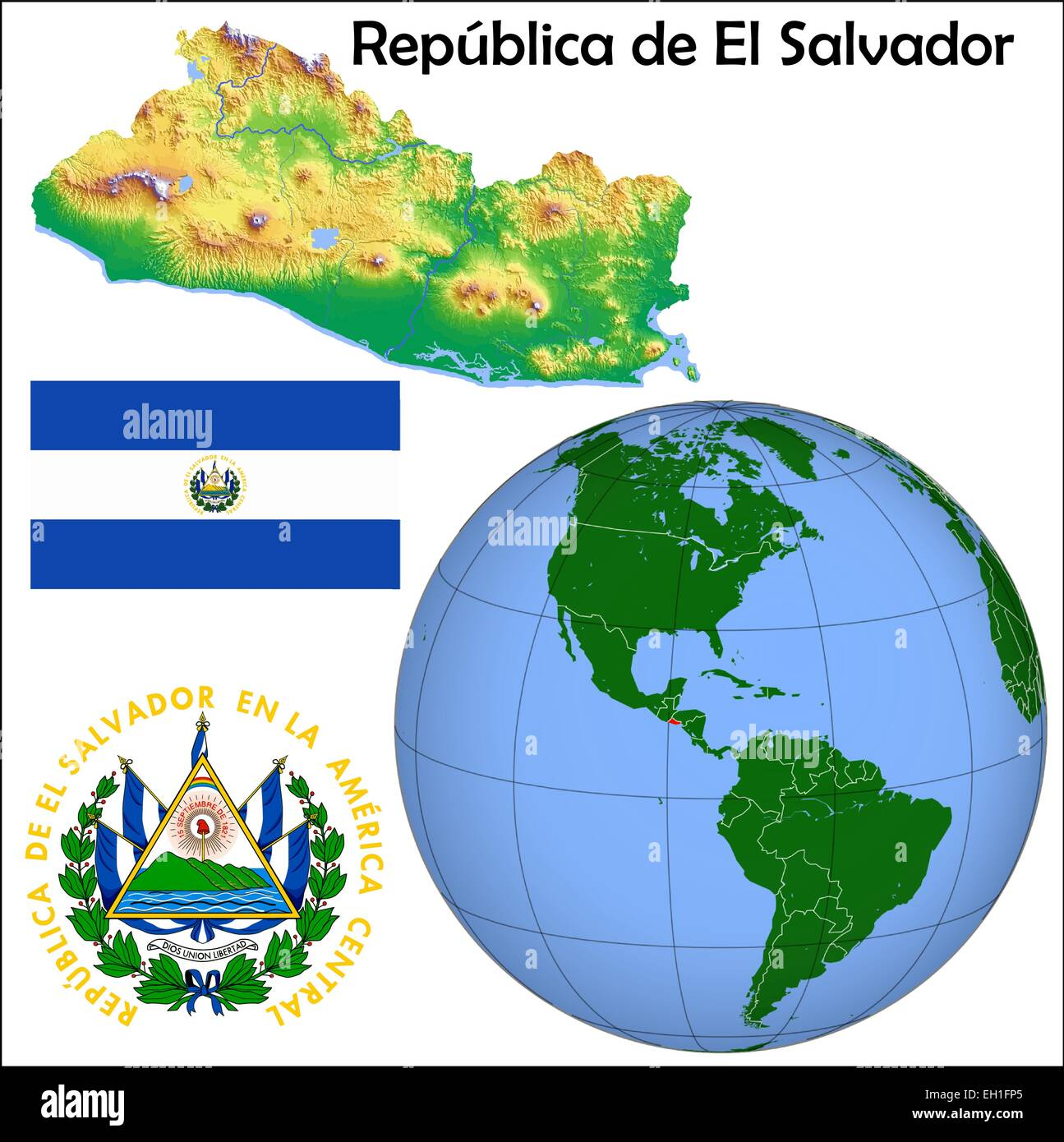 El Salvador Globe Location Stock Vector Art Illustration Vector - El salvador earth map