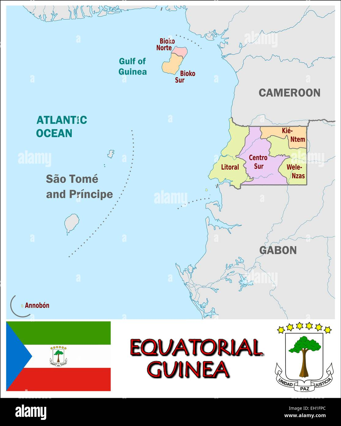 Equatorial Guinea administrative divisions flag coat Stock Vector