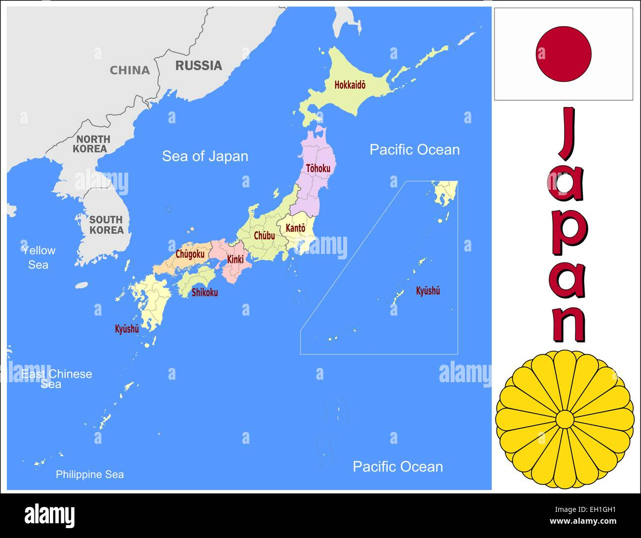 Japan administrative divisions Stock Vector Art Illustration