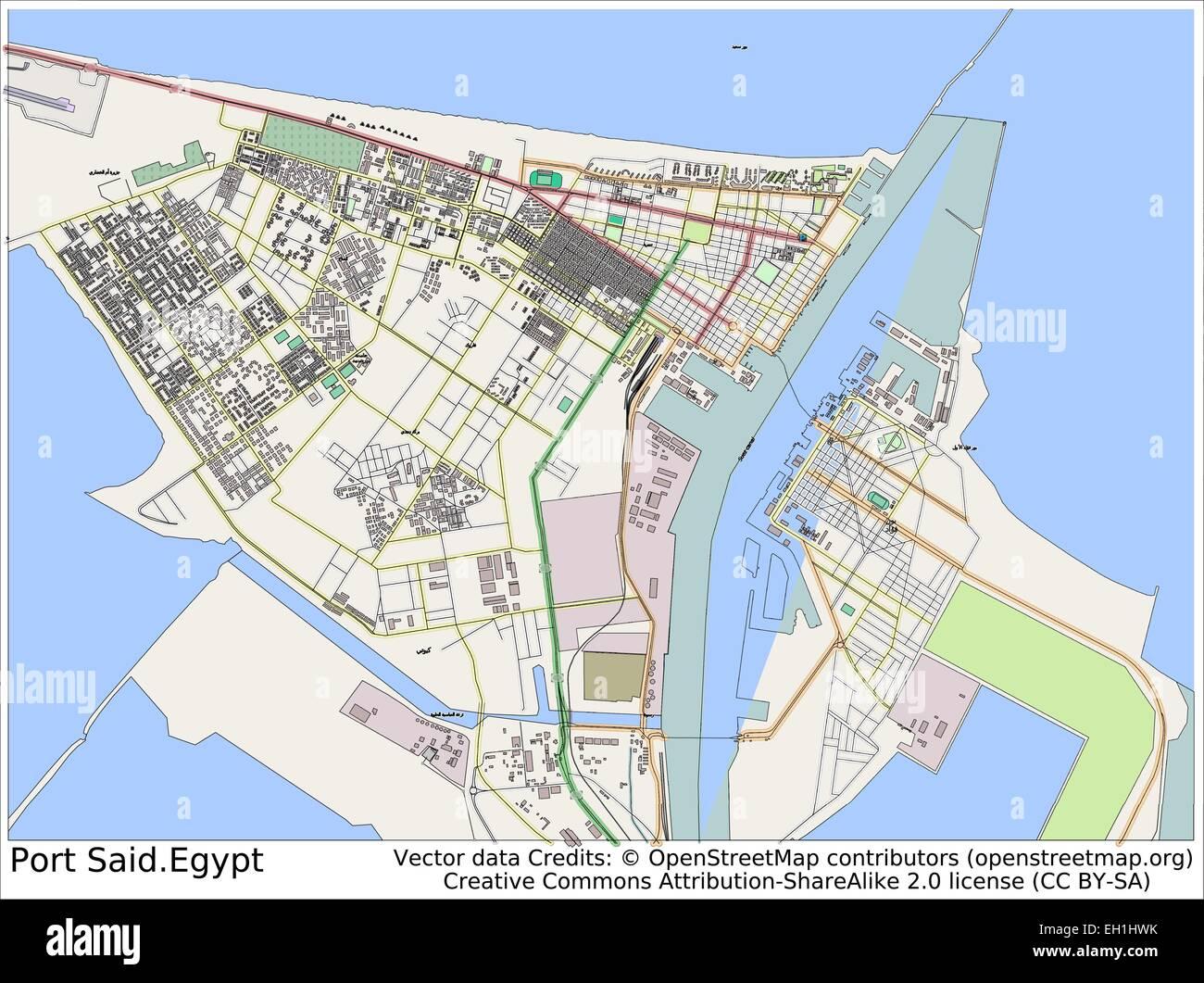 Port Said Egypt City Map Stock Vector Art Illustration Vector - Map of egypt ports