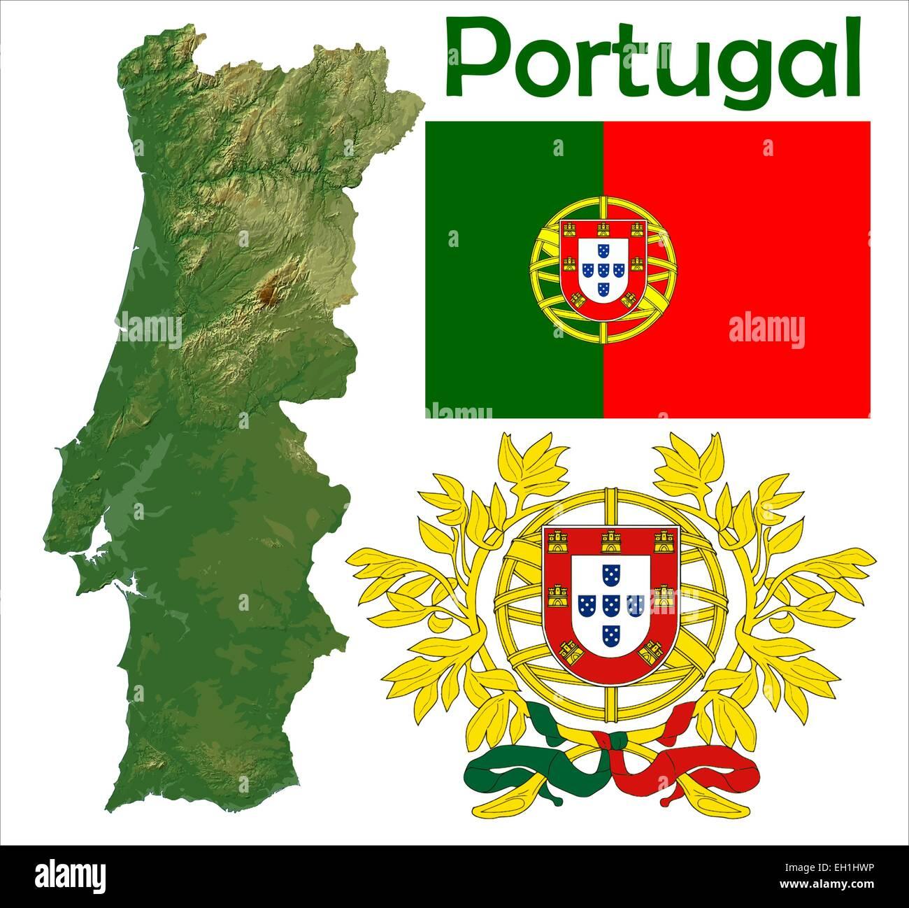 Portugal Map Flag Coat Stock Vector Art Illustration Vector - Portugal map flag