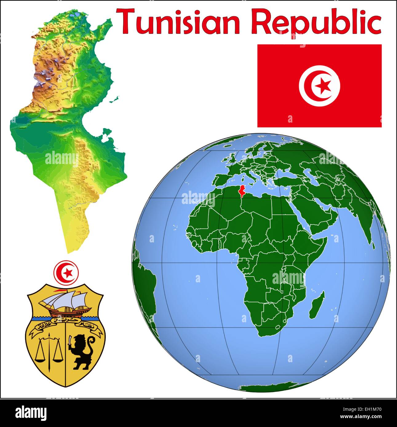 Tunisia globe location Stock Vector Art Illustration Vector Image