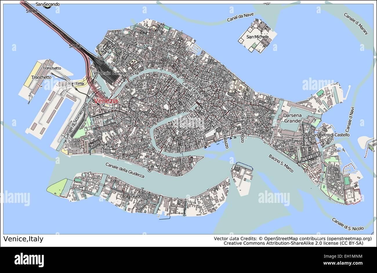 Venice Italy Island City Map Stock Vector Art Illustration - Venice city map