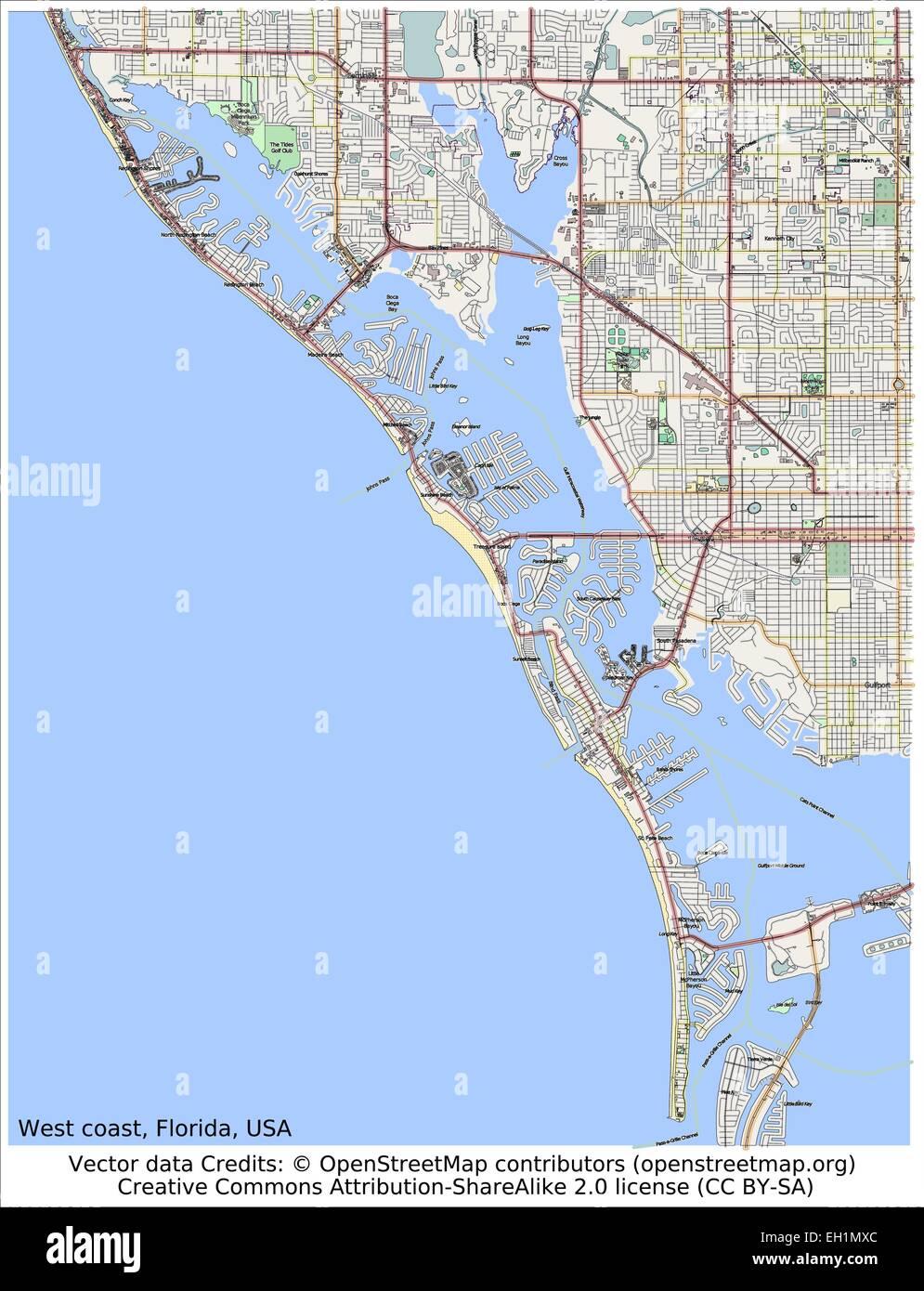 West Coast Florida USA Area Map Stock Vector Art Illustration - Map of west coast of florida