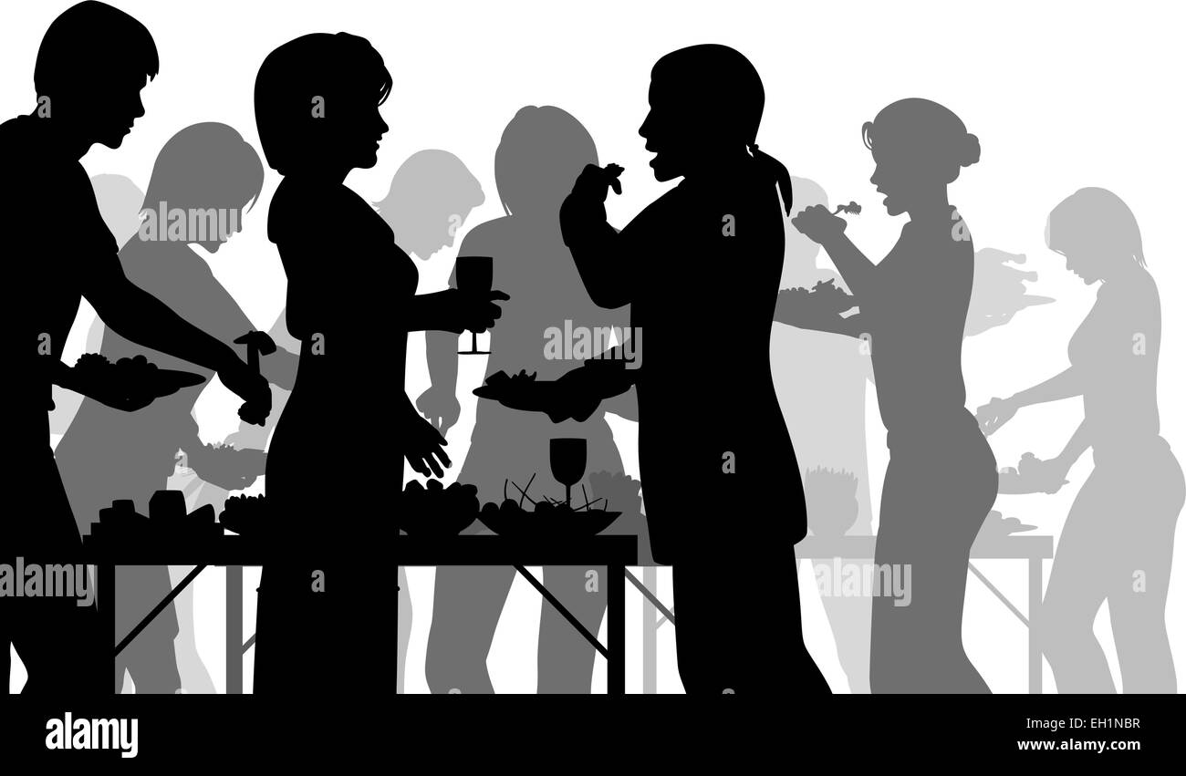 separate people. eps8 editable vector silhouettes of people enjoying a buffet with all figures as separate objects