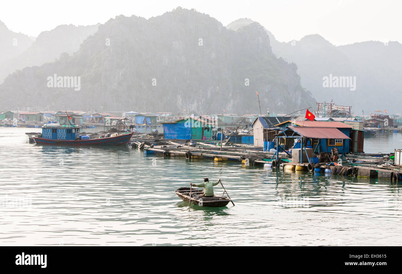 Fish farm village amongst karst limestone mountains at cat ba stock photo royalty free image - Trout farming business family mountains ...