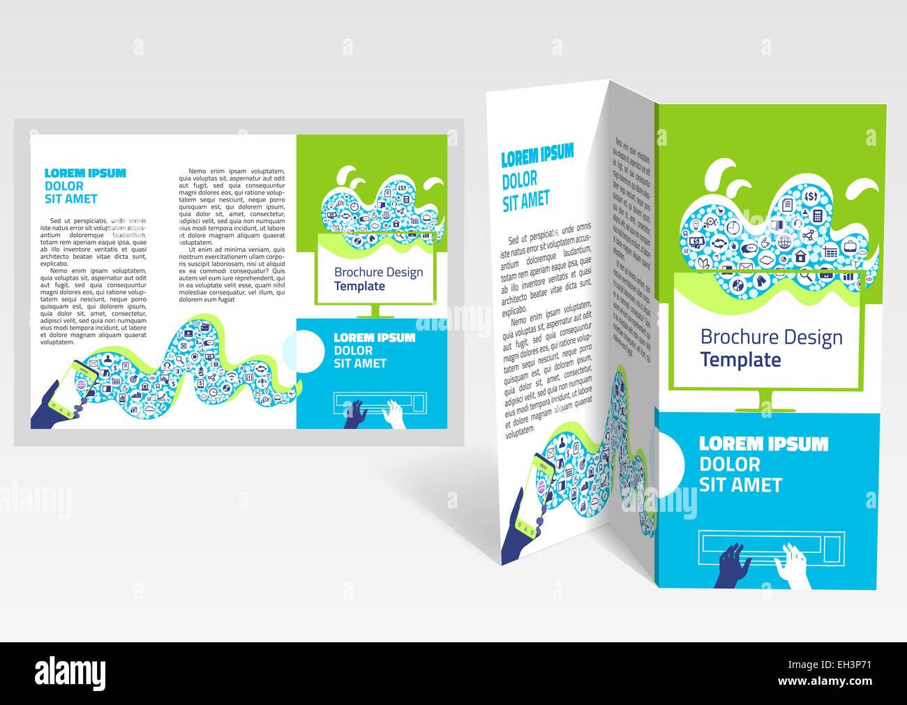 Brochure Booklet Zfold Layout Editable Design Template EPS - Z fold brochure template