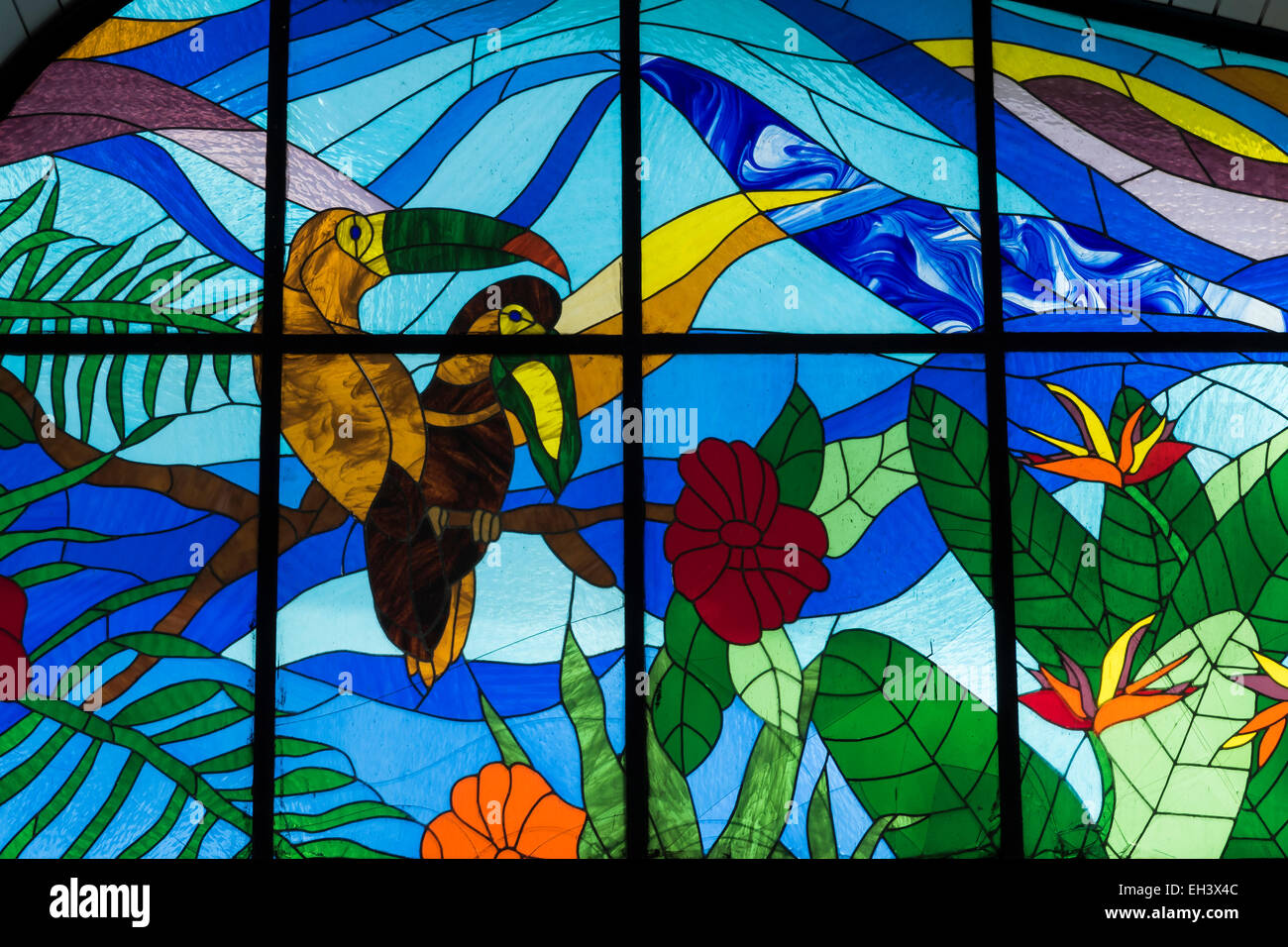 A Tropical Scene With Birds In A Stained Glass Window The Plaza