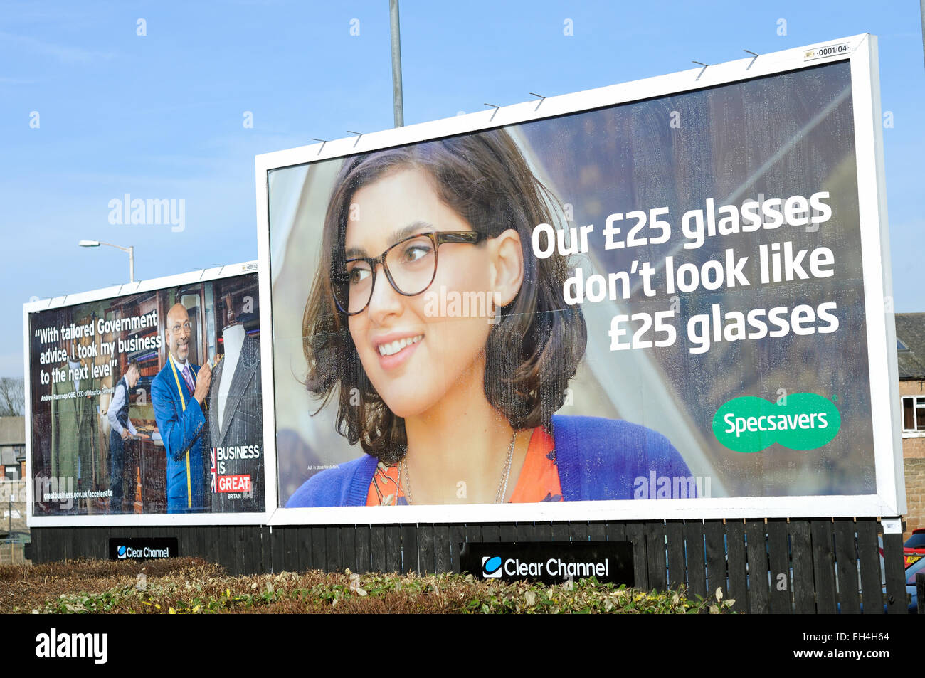 specsavers billboard advertising mansfield uk stock photo  specsavers billboard advertising mansfield uk