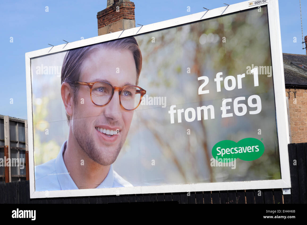 specsaver advert seeing double and more more than just a logo  specsavers and advert stock photos specsavers and advert stock specsavers billboard advertisement mansfield nottinghamshire uk stock