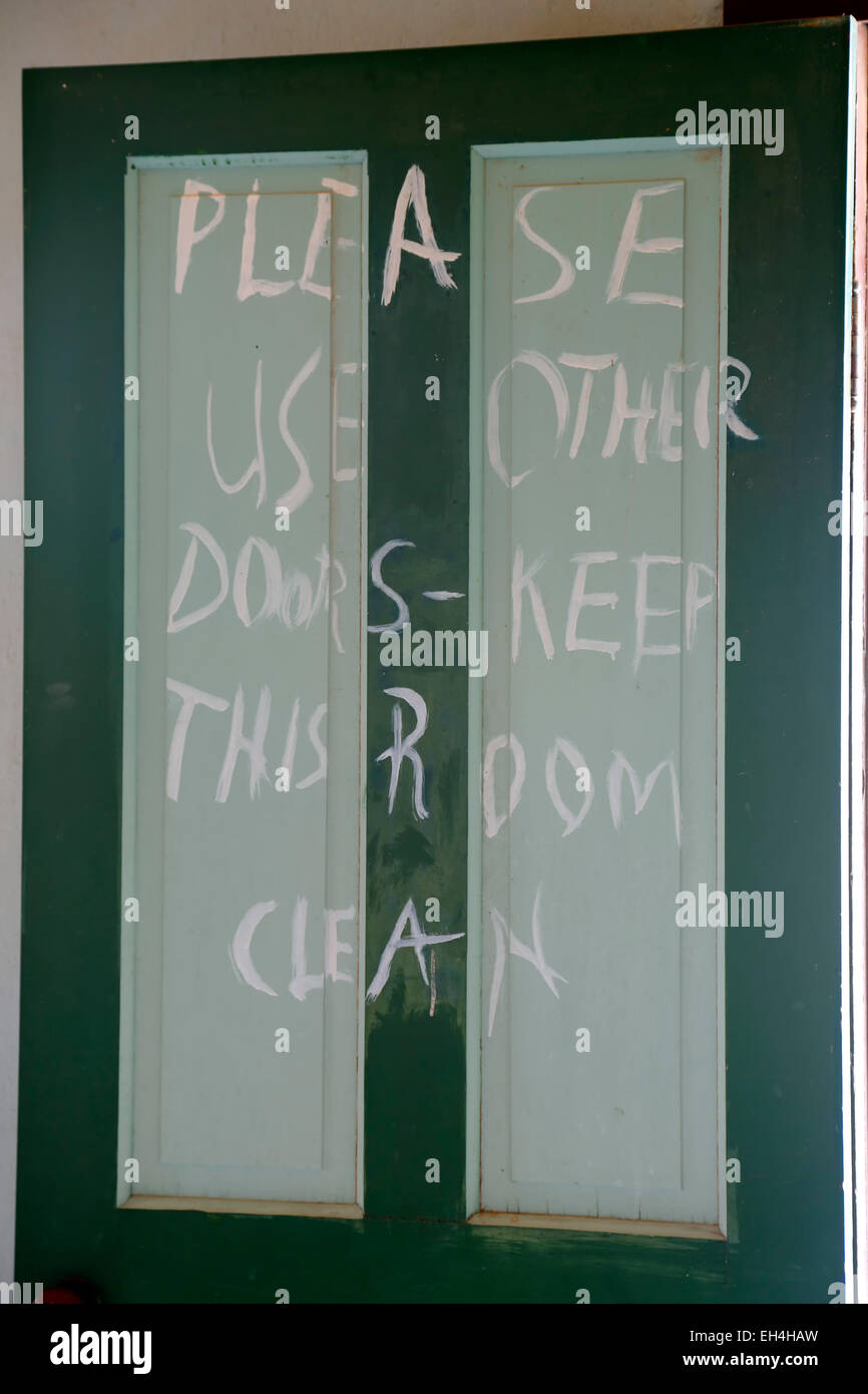 Sign on  clean room  door Schmidt McDonald Ranch House Trinity Site (first nuclear explosion 1945) New Mexico USA & Sign on