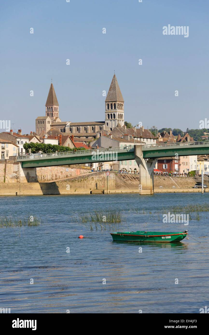 france saone et loire tournus the edges of the saone and the two stock photo royalty free. Black Bedroom Furniture Sets. Home Design Ideas