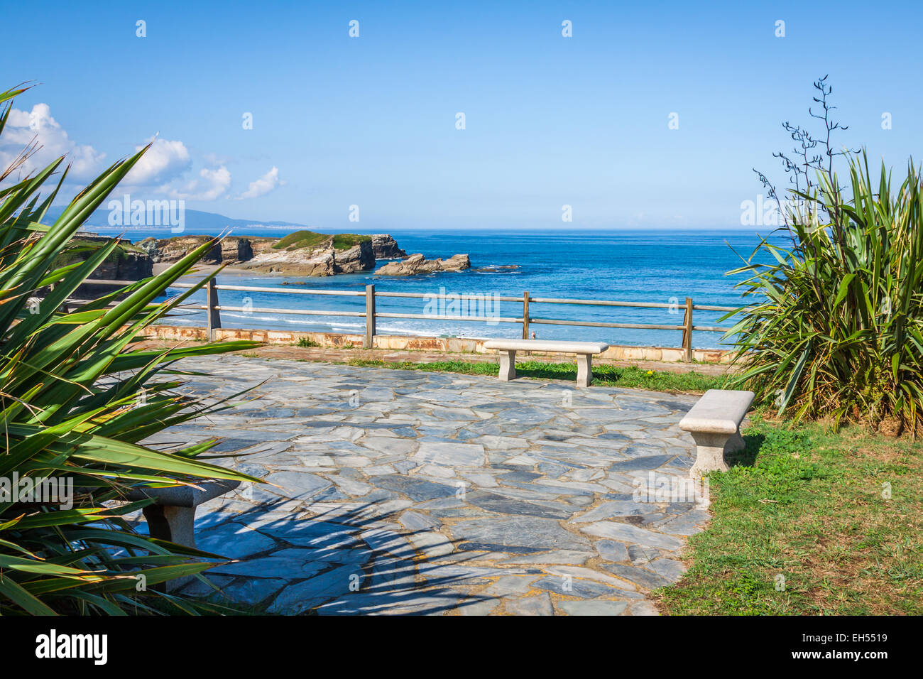 Beach of Las Catedrales or As Catedrais, Ribadeo, Galicia, Spain Stock Photo,...