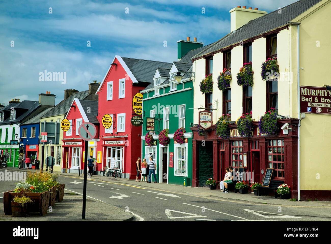 shops in the town of dingle ireland stock
