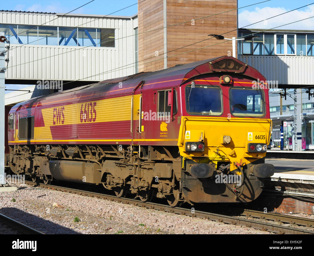 EWS diesel locomotive class 66 leads a freight train ...