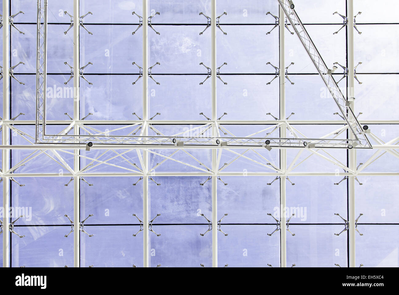 Modern Architecture Detail glass roof, detail of a transparent roof, modern architecture