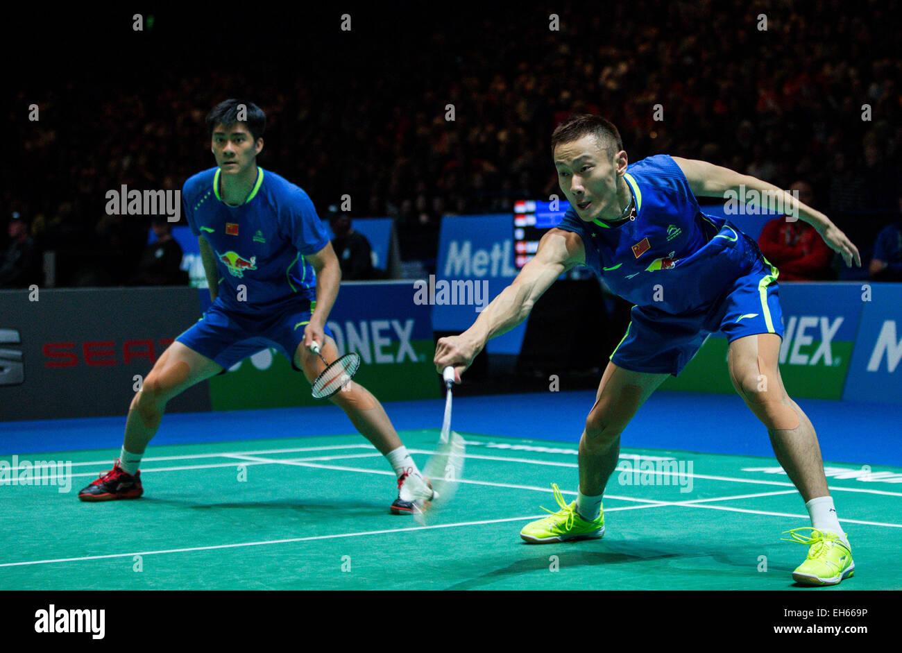 Birmingham 7th Mar 2015 Zhang Nan R and Fu Haifeng of China