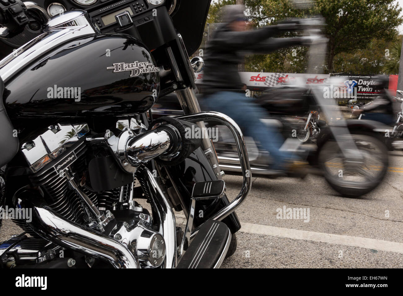 Leather Clad Bikers Ride Down Main Street During The 74th Annual