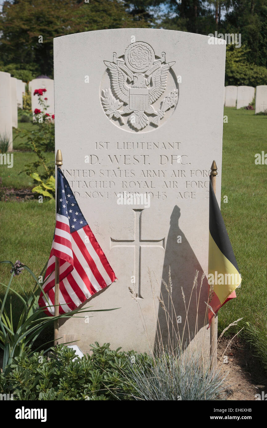 833rd aero squadron - Commonwealth Headstone On An American Army Air Force Officers Grave In The Heverlee War Cemetery In