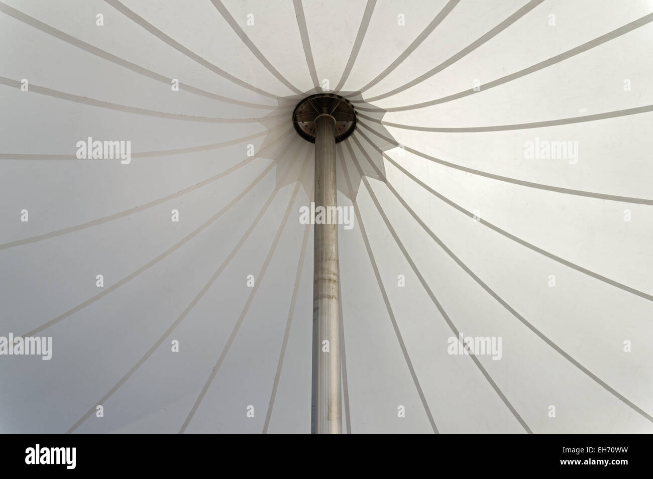 white tent canopy supported by an aluminum pole & white tent canopy supported by an aluminum pole Stock Photo ...