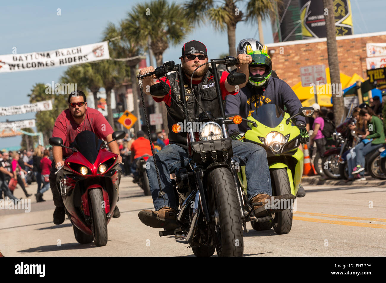 Leather Clad Bikers Cruise Down Main Street During The 74th Annual