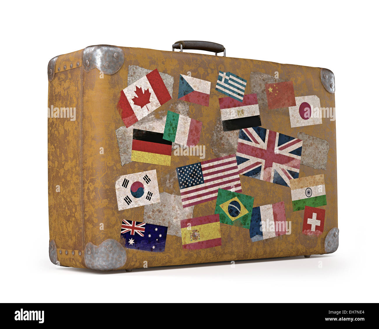 Vintage Suitcase With Stickers Stock Photo Royalty Free